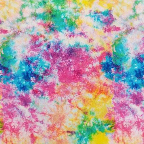 látka elastický úplet na šaty dámské letní jarní pružná metráž jemná duhová multi barevná batikovaná