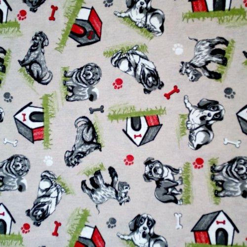 Látka dekorační dovozová psi bouda kost tlapka červená šedá režná na potahy židlí a závěsy