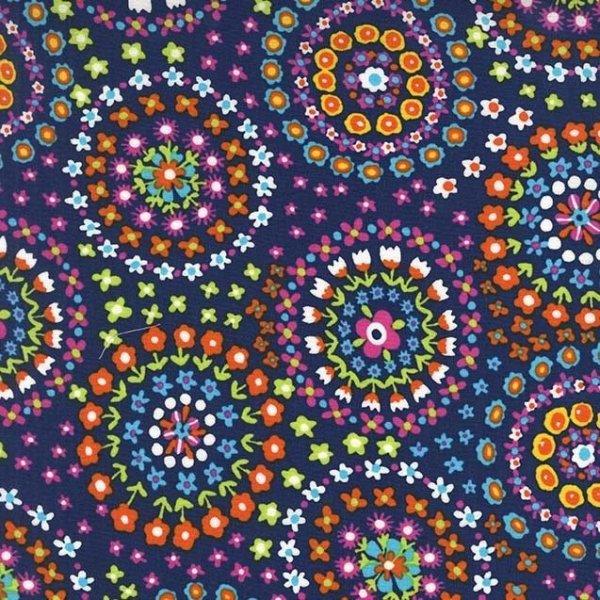 Bavlněná látka americká na šití oblečení kabelek vzor kytiček v kruzích na tmavě modré