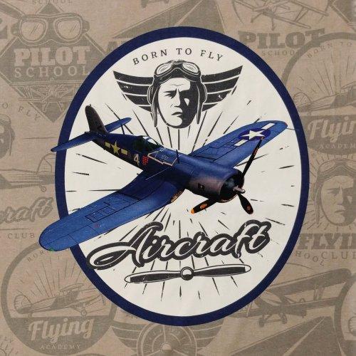 látka panel na triko úplet hnědo šedá taupe aircraft letadlo staré born to fly