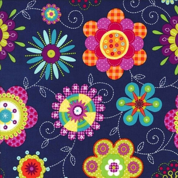Bavlněná látka dovoz Amerika na šití kabelek oblečení kreslené kvítka květina na tmavě modré