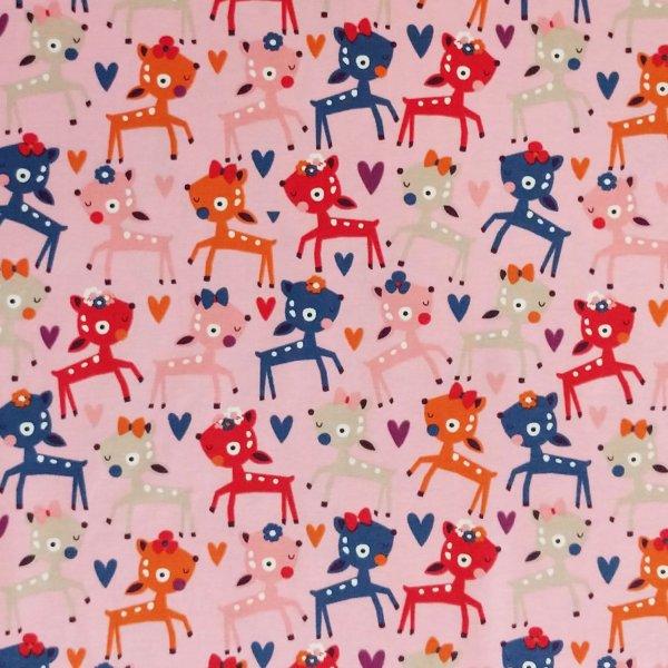 látka úplet bavlna s elastanem dětský holčičí motiv růžová barevné kreslené srnky srnečci jeleni jelínci koloušci