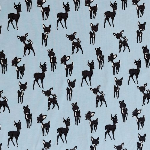 látka elastický dětský mimi motiv úplet na trička čepičky světle modrá koloušci zvířátka srnečci černí
