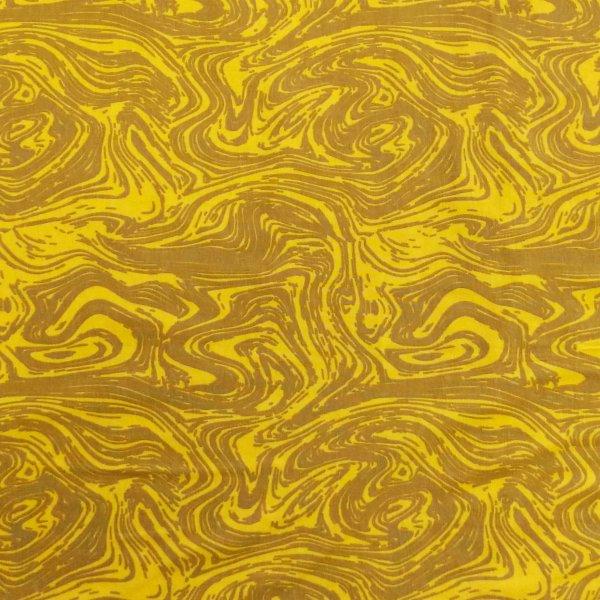 látka úplet jersey pružná na trika sukně žlutá earl vzor dřeva proudu vody s tmavým kontrastem