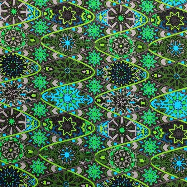 látka zelená úplet jersey elastický na šití oblečení trika sukně vzor mandal a vlnek šroubovice dna