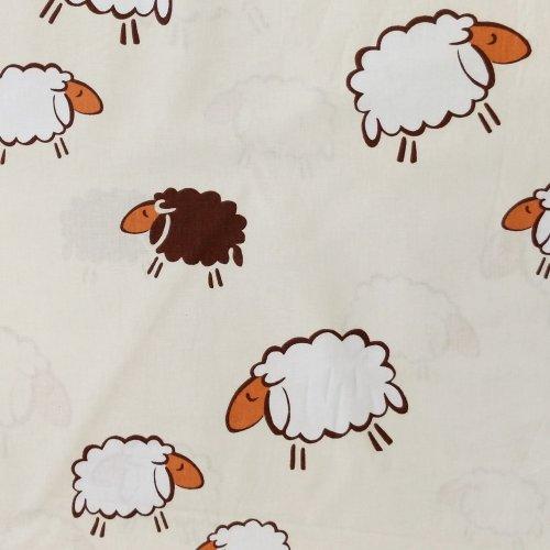 metrové bavlněné plátno se zvířátky ovce bílé hnědé na béžové smetanové krémové na šití povlečení závěsů dekorací dětských