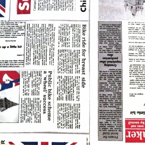 Dekorační látka dovozová novinový tisk Londýn na povleky a ubrusy