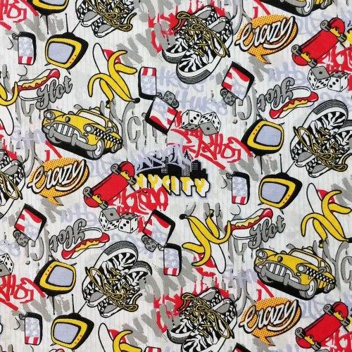 bavlněná látka klučičí vzor na šití závěsů dekorací povleků nycity taxi banán skateboard tv televize kostky zapalovač