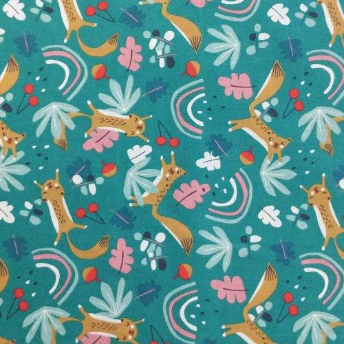 dovozová látka z Francie domotex veverky zvířátka kreslené dětský motif na sytě mentolové zelené tyrkysové
