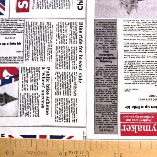 Látka režná dekorační od zahraničního výrobce anglické noviny s Londýnem světlá