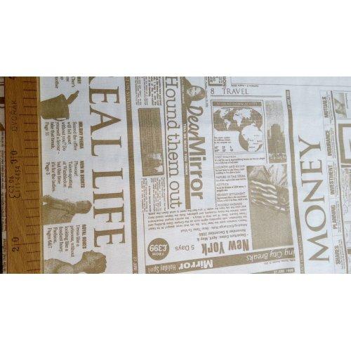 Látka bavlněné plátno novinový tisk americký na ubrusy a prostírání