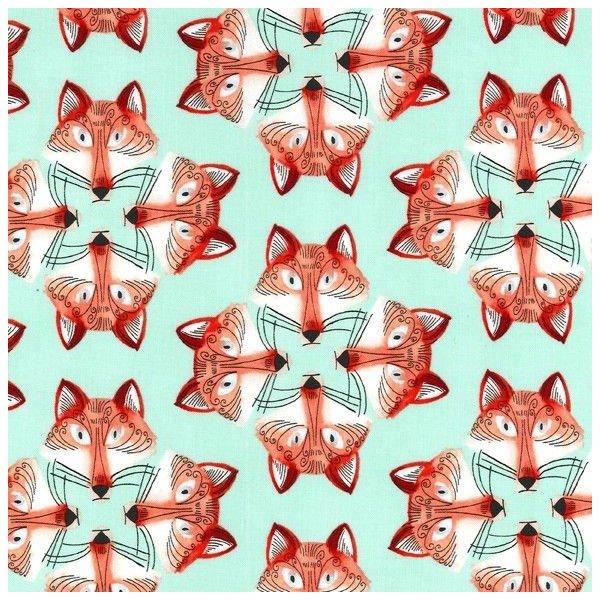 bavlněné plátno metráž z ameriky na šité oděvů lišky na mentolové