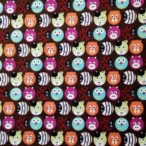 Plátno 100 bavlna metráž hnědá čokoládová dětský vzor zvířátek na patchwork