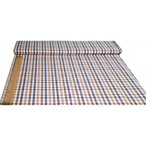 Popelín metráž vzor kostek kanafas modrá hnědá s bílou na šití košil a bytových dekorací