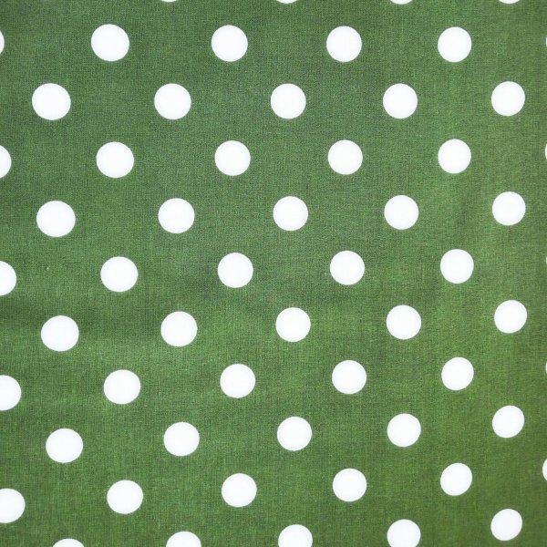 Česká bavlněná látka na patchwork bílý puntík tečky kapky na zelená tmavě olivová