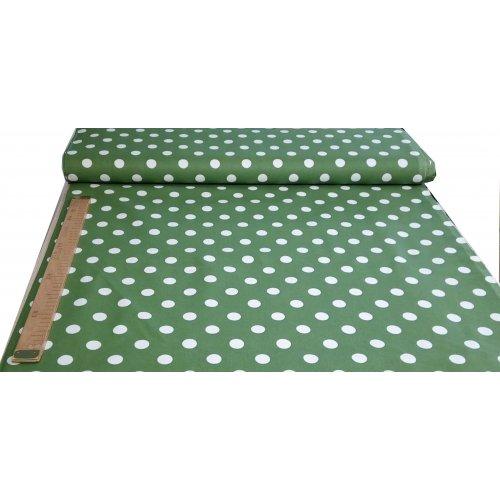Látka bavlněné plátno od českého 100 bavlna bílé puntíky na zelené na šití polštářů povlečení závěsů