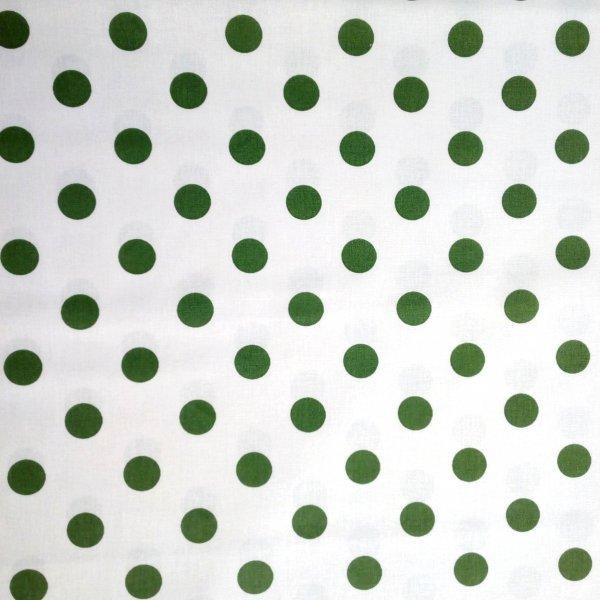 Česká bavlněná látka zelené puntíky tečky kapky bublinky na bílé na povlečení závěsy