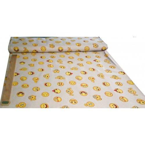 Látka režná dekorační zahraniční smajlíci žlutí přírodní podklad povleky dekoračních polštářů přehozy
