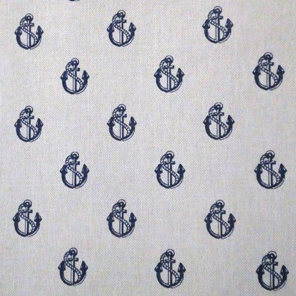 Dovozová dekorační látka modrá kotvy kotvičky lano námořní styl režná