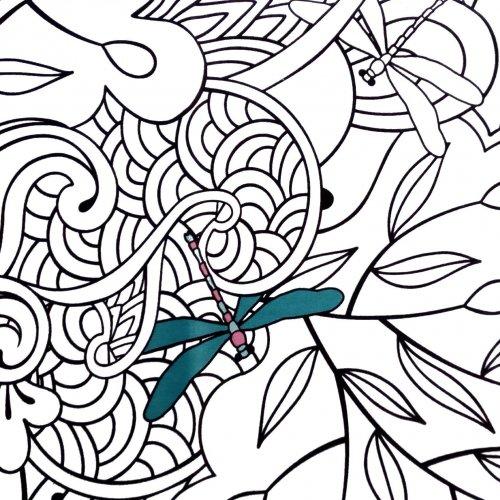 České bavlněné plátno vybarvovací barevné vážky bílé květy barvy na bavlnu vymalovávací