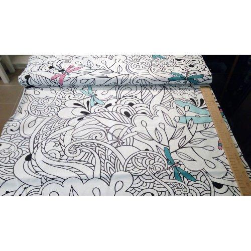 Látka bavlněná metráž vážky bílé květy bordura vymalovat barvami dětské na deky pokrývky