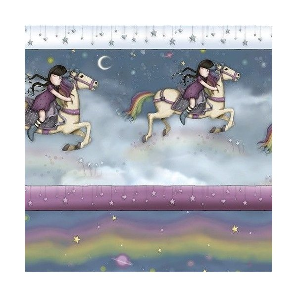 Americká bavlněná látka Rainbow Dream Sontoro Gorjuss panenky holčičky na koních noc nebe na patchwork