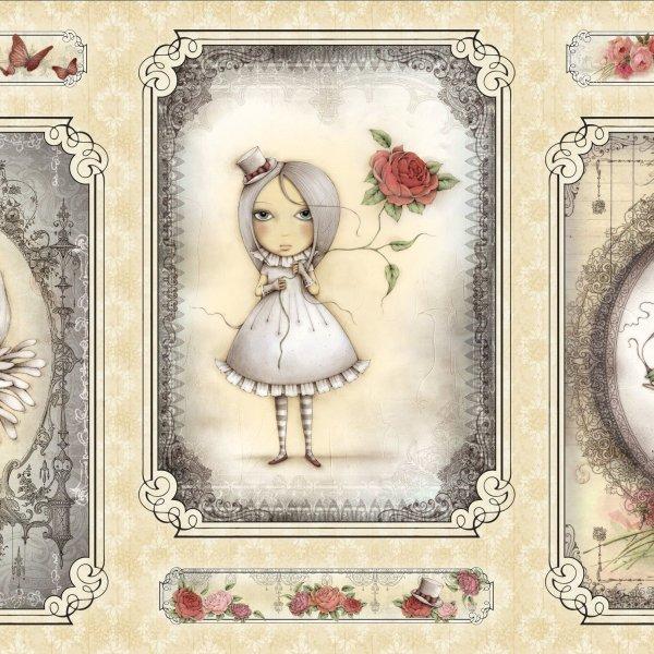 Bavlněná látka panel Panenky Mirabelle panenka smutná kreslená krémová béžová písková na patchwork