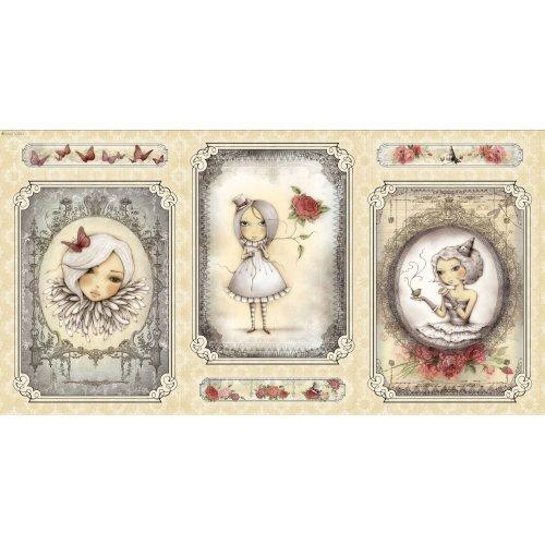 Americká bavlněný panel na patchwork Mirabelle panenka holčička postavička La Vie En Rose