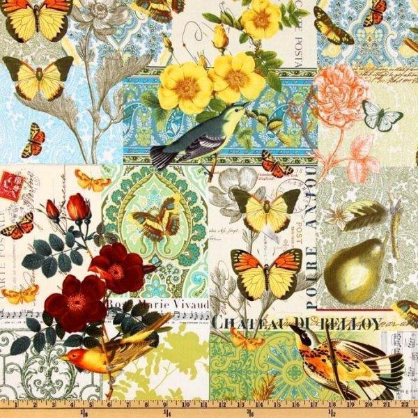 Bavlněná látka z Ameriky barevní motýli práčci květinky na šití kabelek šatů sukní