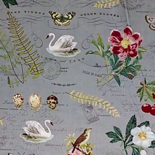 Bavlněná látka od amerického výrobce labutě ptáci květiny květy šedá
