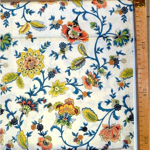 Látka od amerického výrobce 100 bavlna barevné květy smetanová na šití oděvů