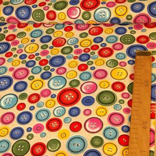 Režná dekorační metráž od zahraničního výrobce knoflíčky buttons multibarevné pevná látka