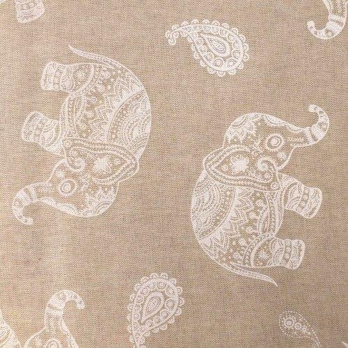Dekorační látka dovozová sloni krajka mandaly režná béžová na šití závěsů potahů