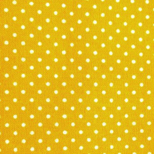 Látka bavlna od českého výrobce bílý puntík sytě žlutý podklad na patchwork ubrusy prostírání