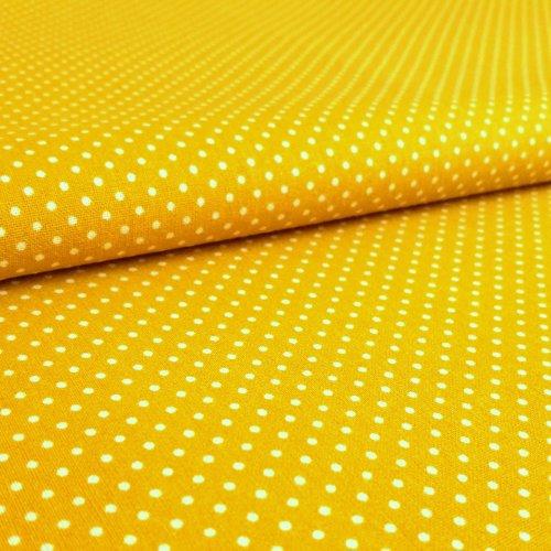 Česká látka bavlněná 100% bavlna puntík tečky kapky kolečka žlutá bílá na deky polštáře