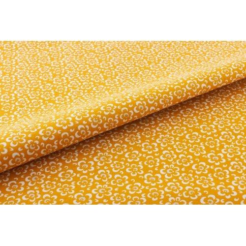 Látka česká bavlněná 100% bavlna hořčicová sytě žlutá bílé květy kytičky na závěsy patchwork