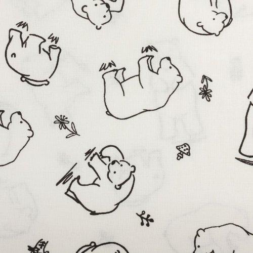 Bavlněná látka dovozová medvědi bílí na bílém podkladu vybarvení vymalování