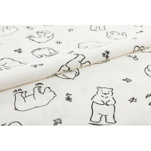 Látka bavlněné plátno dovoz vybarvovací vymalovávací bílá lední medvědi grizzly