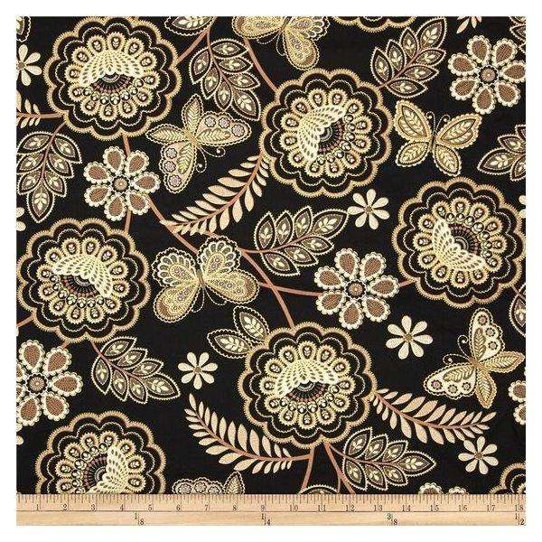 Americká bavlněná látka 100% bavlna zlatotisk motýlů a květů na černém podkladu