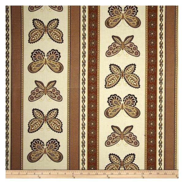 Bavlněná látka americká 100% bavlna zlatí motýli černé lemy světlá na dekorace šití halenky