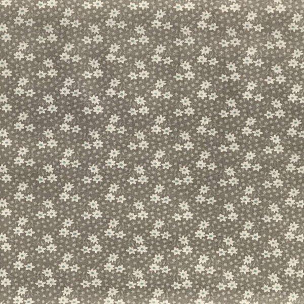 Bavlněná látka dovoz květinky kvítka šedá tyrkysová na patchwork deky povlečení
