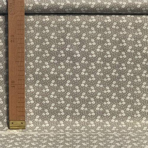 Dovozová bavlněné plátno 100% bavlna malé květinky lístky flora šedá světlá na závěsy
