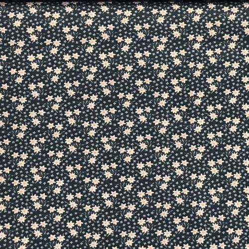 Dovozová bavlněná látka 100% bavlna květinky kvítka na černé modré na patchwork šití ubrusů