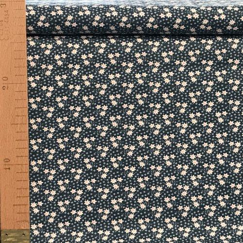 Bavlněná metráž dovoz EU malé drobné květinky černá tmavě modrá na povlečení závěsy polštáře