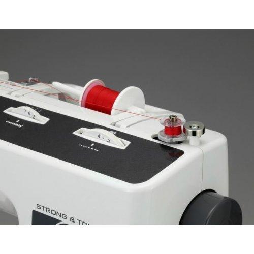 Robustní mechanický šicí stroj, šířka stehu 7 mm, overlockový steh, pevný kryt. 37 druhů stehů,...