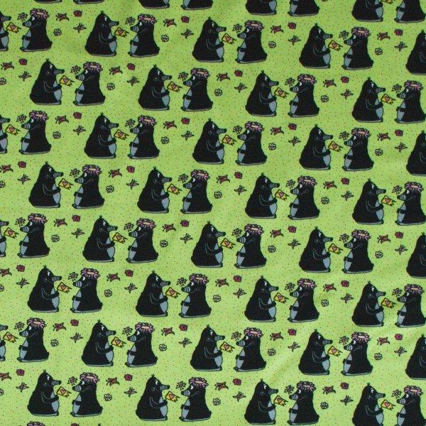 Bavlněný úplet dovoz elastan elastická metráž krteček černý zelený podklad na pyžama