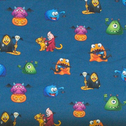 Bavlněný úplet elastan dětský vzor příšerky na královsky modré látka na šití triček