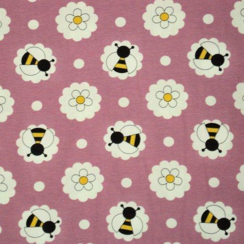 Miminkovský bavlněný úplet elastický včelky na staro růžové květiny kopretiny sedmikrásky