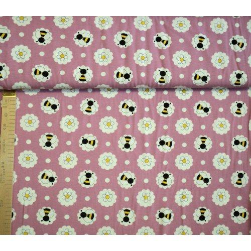 Elastická látka dovoz elastan růžová fuchsiová květy včely vosy dětský vzor na šití