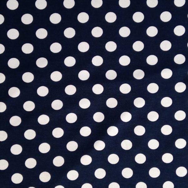 Viskózový úplet metráž šatovka s elastanem modrý s bílým puntíkem tečkami